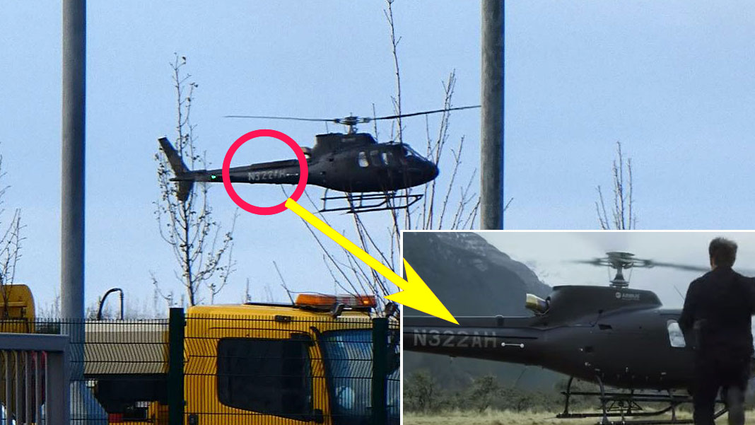 The N322AH Helicopter used in the Film Arrives at Warner Bros Studio