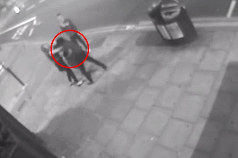 Shocking moment thug Cyclist knocking man to the floor and breaking woman's nose