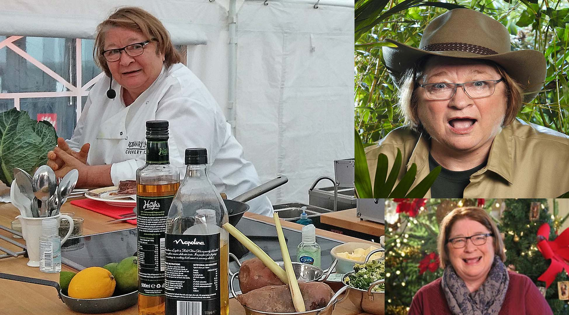 Celebrity Chef Rosemary Shrager cooking at Watford Market