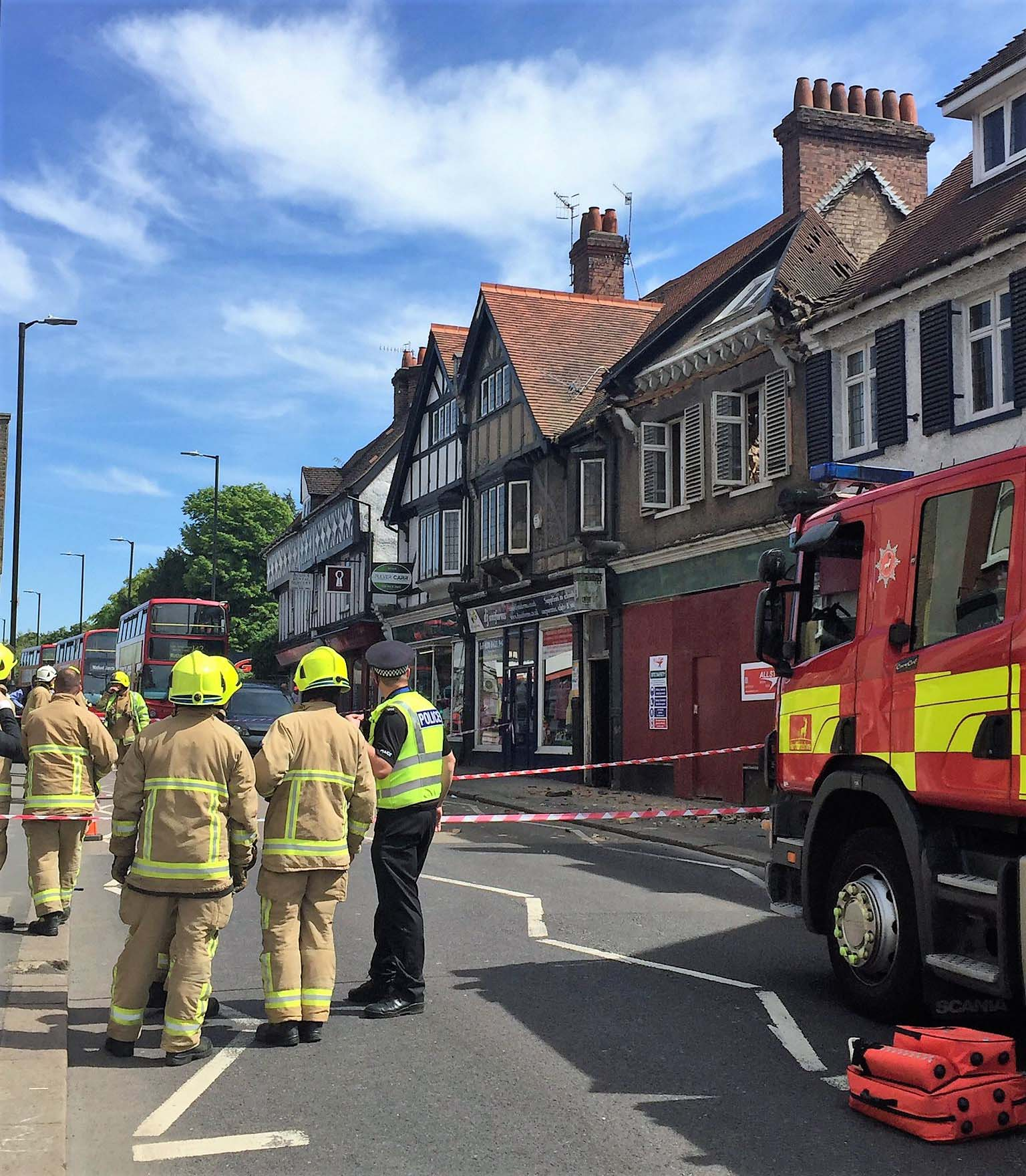 4 people rescued from a collapsed building under renovation in the High Street. Six others walk free