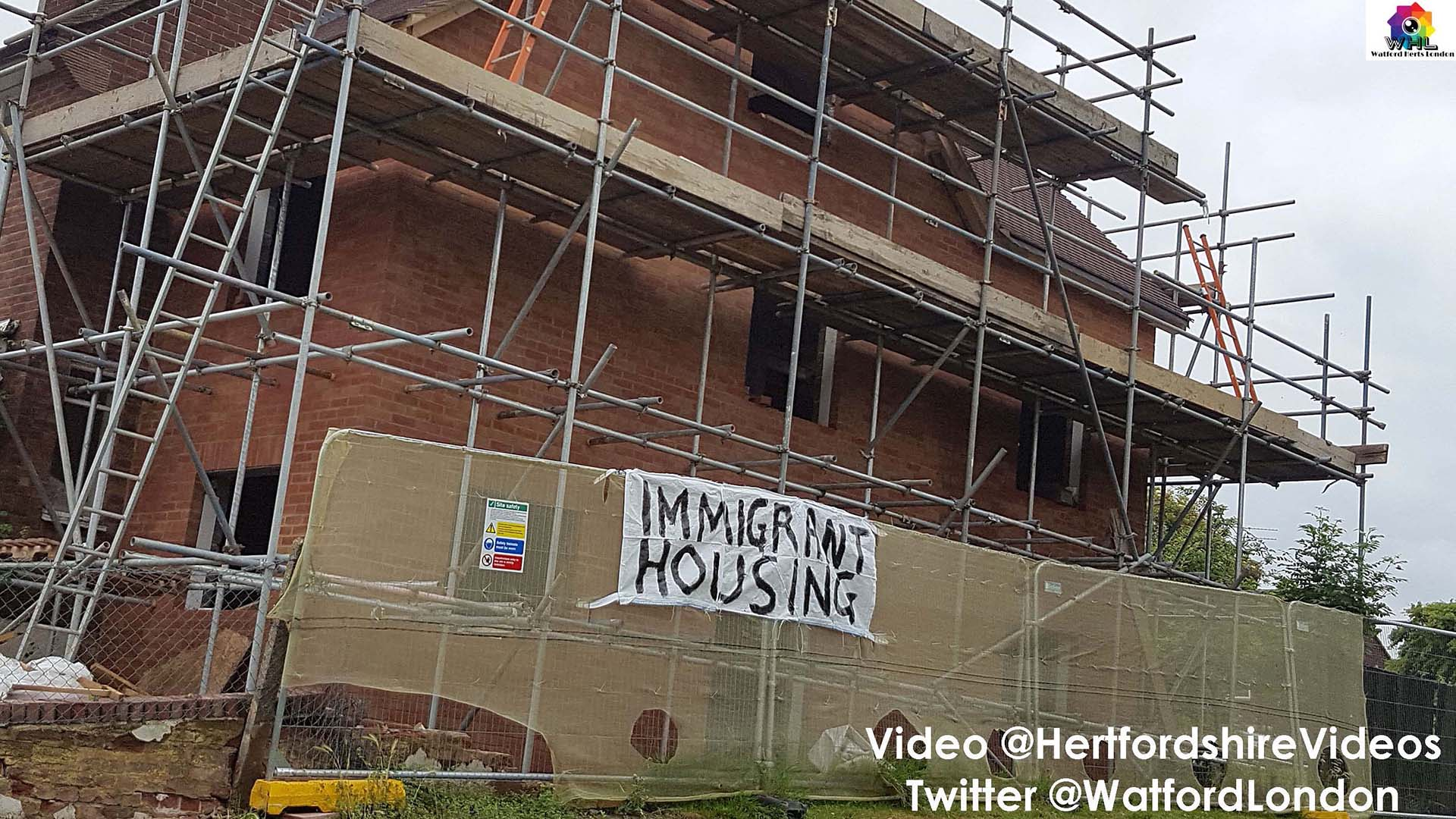 Police Remove Immigrant Housing Graffiti Banner on House in Meriden Watford