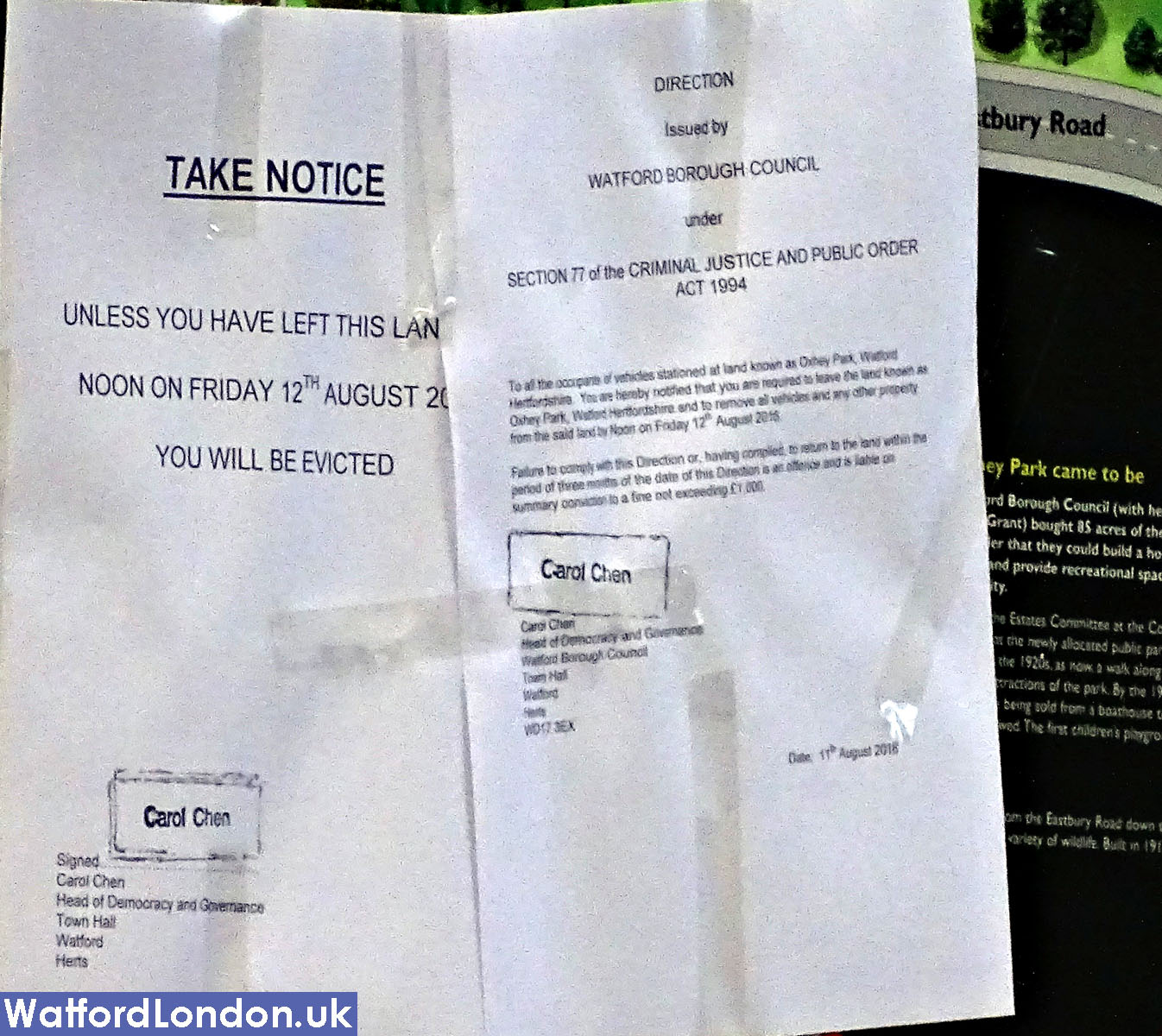 Eviction Letter posted on Park sign. Eastbury Road Oxhey