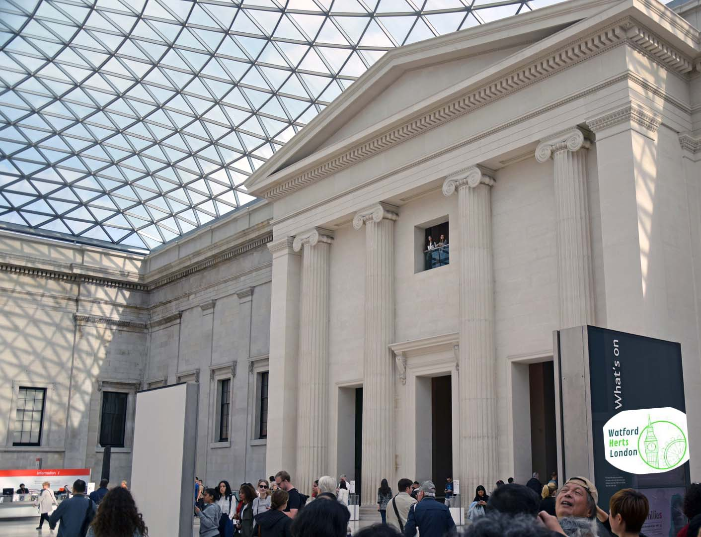 The British Museum, located in the Bloomsbury area of London