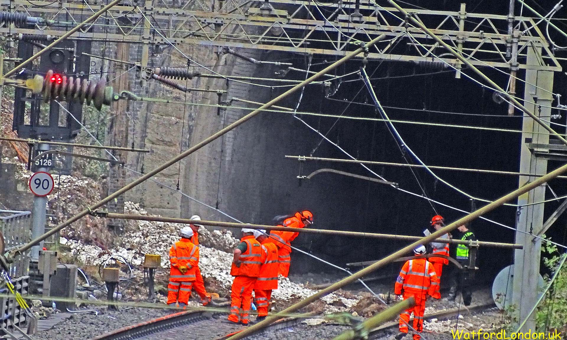 Heavy Rain Landslide Derailed Train Crash in Watford Tunnel