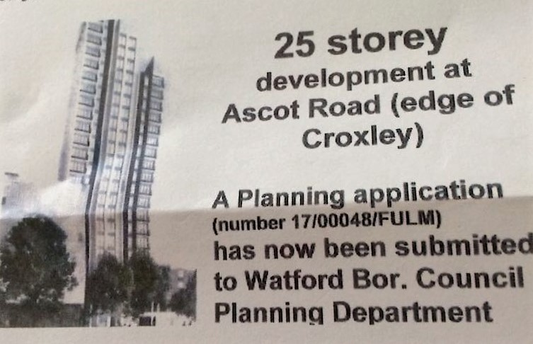 Residents are petitioning the Construction of 25-Storey Tower Block in Watford