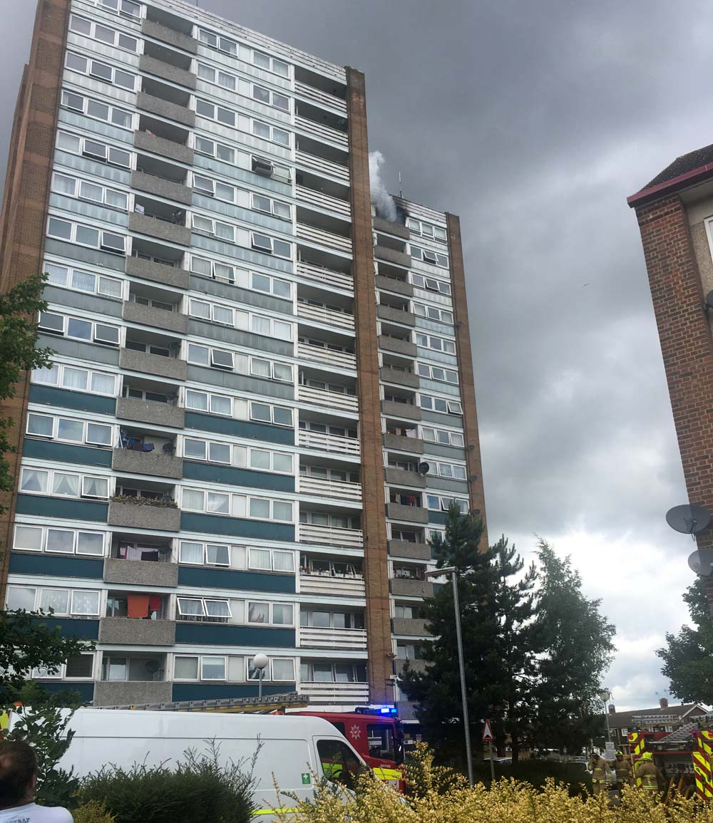 Crews from Garston Watford St Albans and Kings Langley attended Garsmouth Way Garston to report of fire in high rise building.