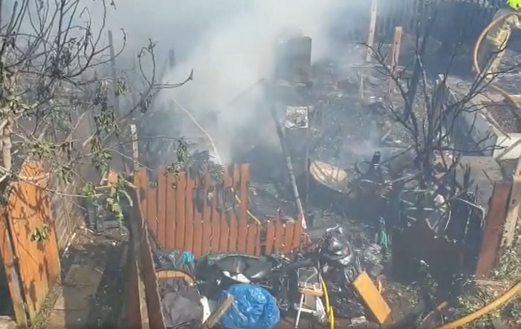 Huge Devastation has been caused to many homes burnt and gardens gutted. fire