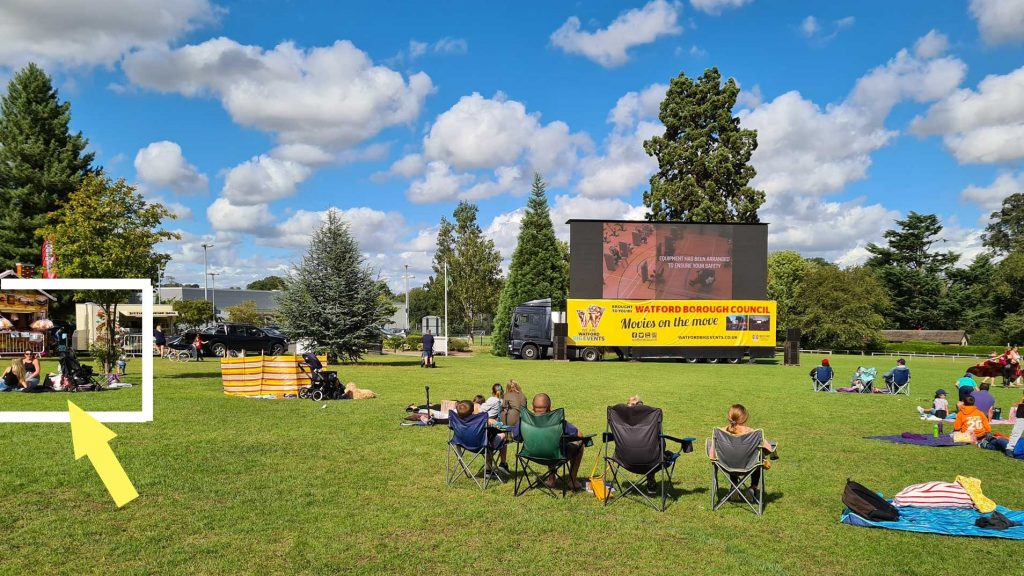 big events, outdoors, cinema, screen, people, park, Woodside playing fields,