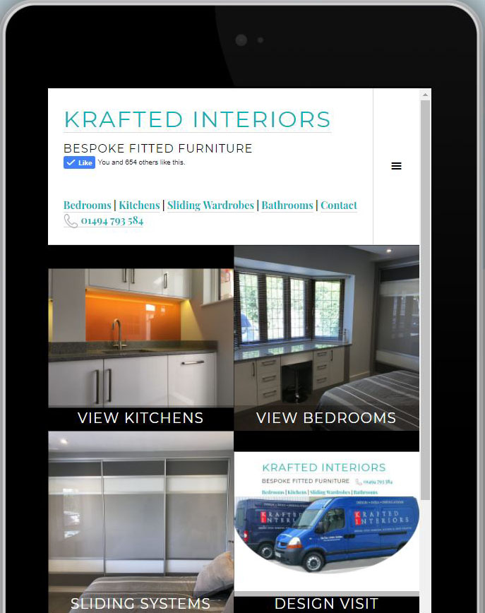 Mobile Web design for Krafted interiors